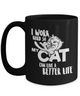 15oz BLACK MUG *I WORK HARD FOR CAT*