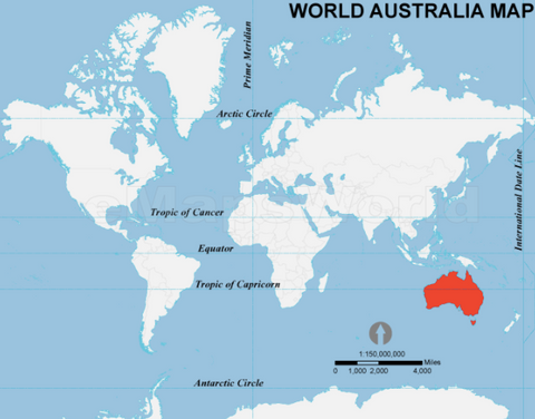 Australia world map international shipping