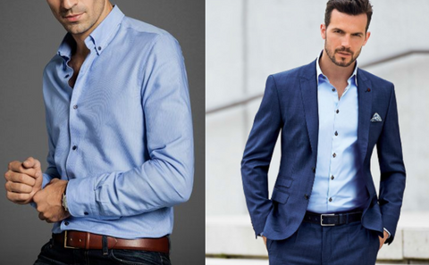 dress up or down a light blue dress shirt