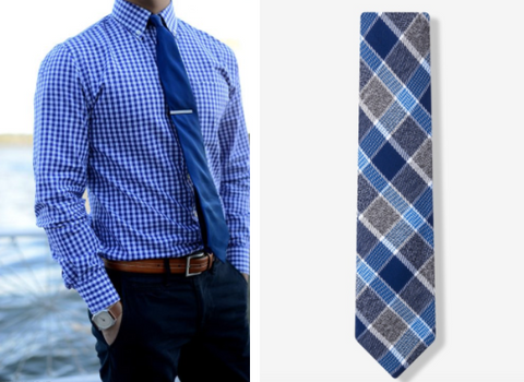 plain tie and plaid patterned tie