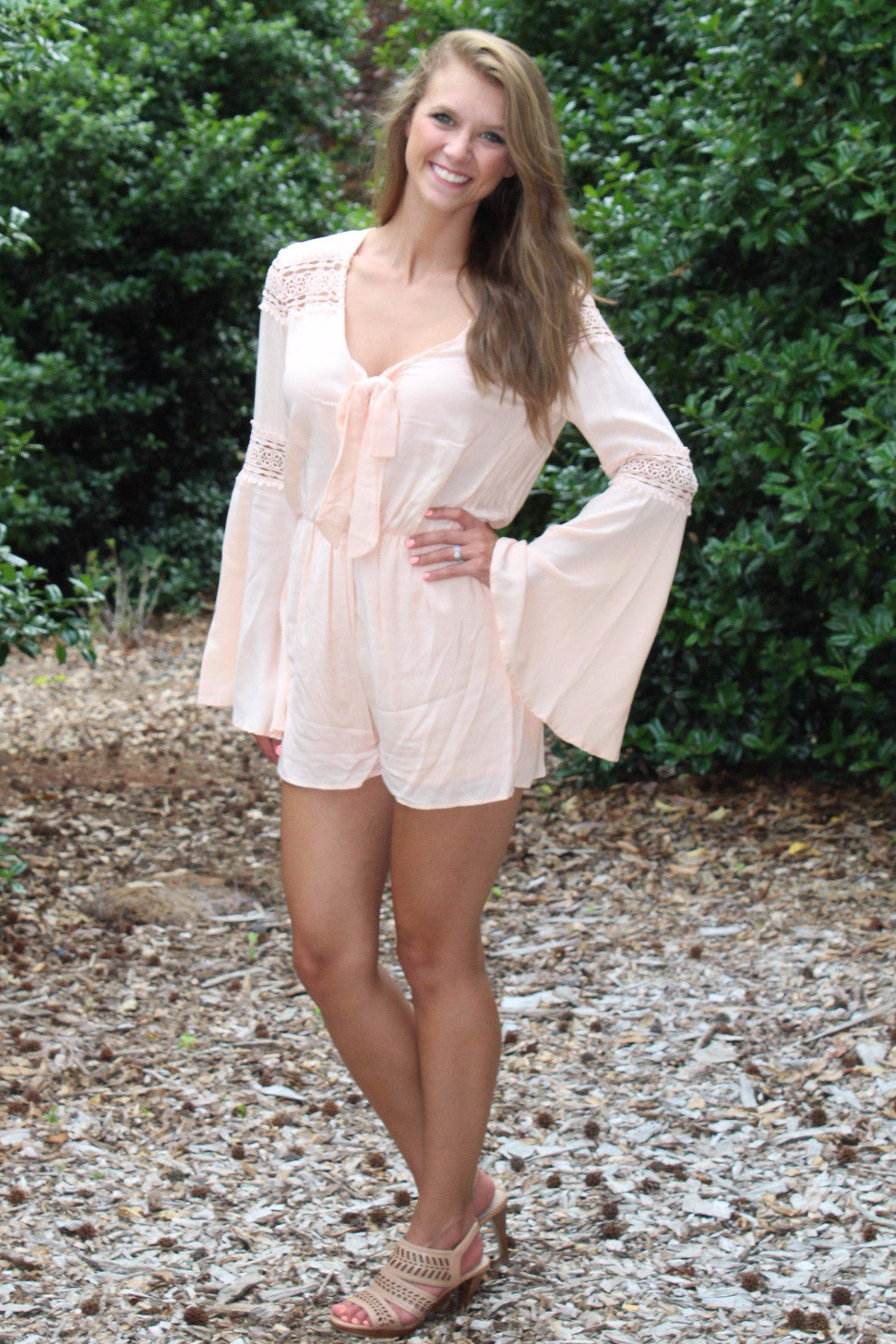 a4e8b2a9a61 Long Sleeve Open-Back Romper With Lace Detail - Ambees Boutique