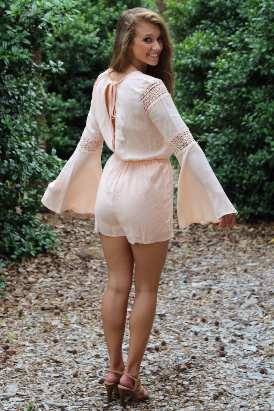b2e9548f377 Long Sleeve Open-Back Romper With Lace Detail
