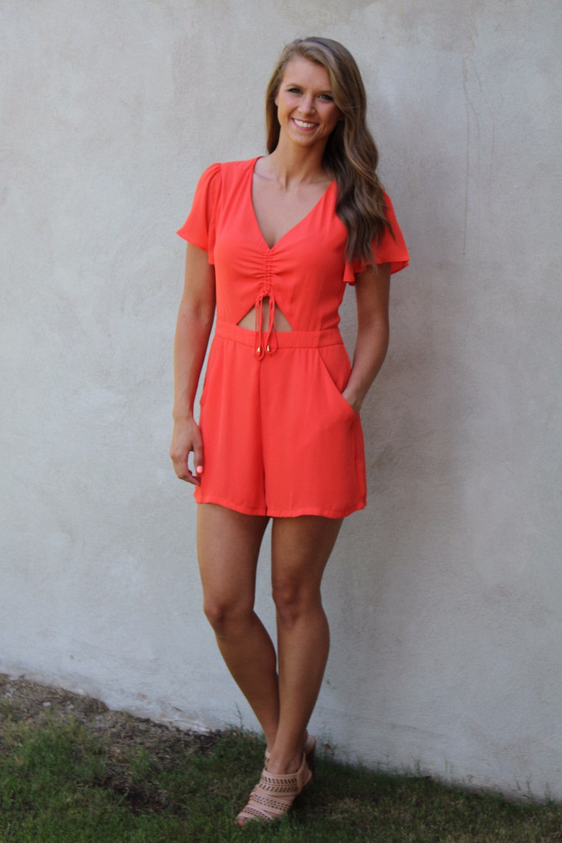 2b2aabb414a Coral Short Sleeve Romper - Ambees Boutique
