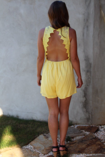 57a627f7891 Backless Yellow Romper - Ambees Boutique