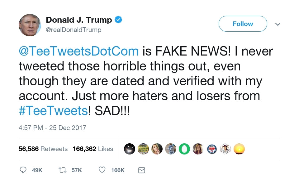 Donald Trump Attacks Tee Tweets on Twitter