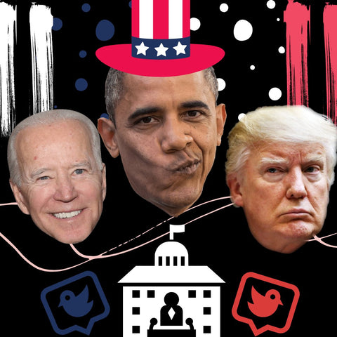 Donald Trump and Barack Obama laughing at presidential inauguration