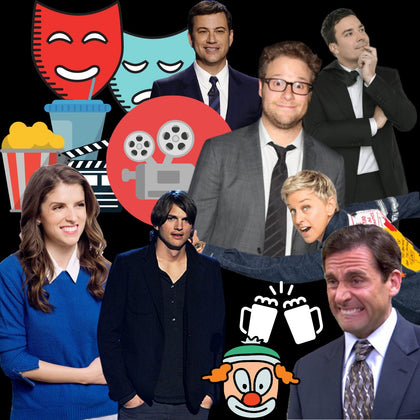 Jimmy Fallon and Stephen Colbert holding up a shirt at the Montclair Film Festival
