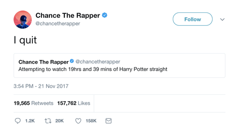 Chance the Rapper tweet saying I quit on a Harry Potter marathon