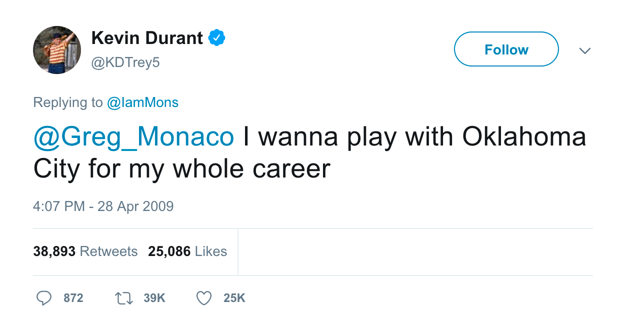 Kevin Durant tweet I wanna play with Oklahoma City for my entire career