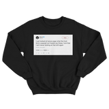 50 Cent never looking at Kanye tweets ever again tweet on a black crewneck sweater from Tee Tweets
