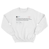 50 Cent never looking at Kanye tweets ever again tweet on a white crewneck sweater from Tee Tweets