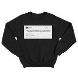 50 Cent might jerk off later I love me very much tweet on a black crewneck sweater from Tee Tweets
