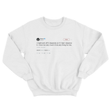 50 Cent might jerk off later I love me very much tweet on a white crewneck sweater from Tee Tweets