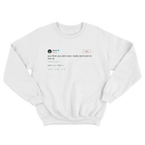 50 Cent I'm rich I really don't care tweet on a white crewneck sweater from Tee Tweets