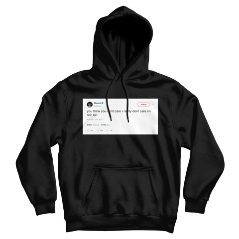 50 Cent I'm rich I really don't care tweet on a black hoodie from Tee Tweets