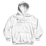 Alexandria Ocasio-Cortez all your base is us tweet on a white hoodie from Tee Tweets