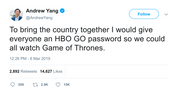 Andrew Yand free HBO password to watch Game of Thrones tweet from Tee Tweets