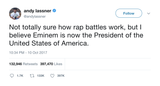 Andy Lassner Eminem is now president of the USA tweet from Tee Tweets