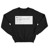 Anna Kendrick my last words are hold my beer tweet on a black crewneck sweater from Tee Tweets