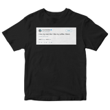 Anna Kendrick like my men like coffee silent tweet on a black t-shirt from Tee Tweets