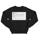 Ariana Grande mom's coffins for Halloween party tweet on a black crewneck sweater from Tee Tweets