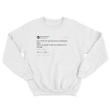 Ariana Grande mom's coffins for Halloween party tweet on a white crewneck sweater from Tee Tweets