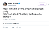 Ariana Grande mom's coffins for Halloween party tweet from Tee Tweets