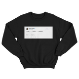 Ariana Grande I'm so grateful tweet on a black crewneck sweater from Tee Tweets