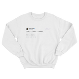 Ariana Grande I'm so grateful tweet on a white crewneck sweater from Tee Tweets
