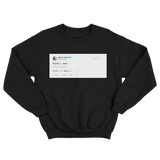 Ariana Grande thank u next tweet on a black crewneck sweater from Tee Tweets