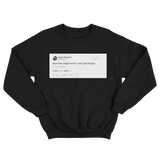 Ariana Grande true love might exist I was just hungry tweet black crewneck sweater from Tee Tweets