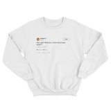 Ashanti hey yall what do you think about facebook white tweet crewneck sweatshirt