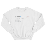 Ashton Kutcher how bout them Hawkeyes tweet on a white crewneck sweater from Tee Tweets
