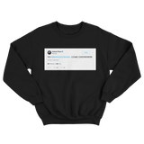 Aubrey Plaza Yo Barack Obama come over tweet on a black crewneck sweater from Tee Tweets