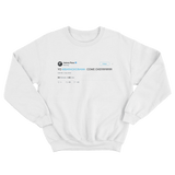 Aubrey Plaza Yo Barack Obama come over tweet on a white crewneck sweater from Tee Tweets