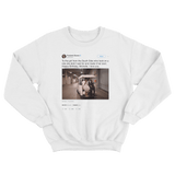 Barack Obama happy birthday Michelle tweet on a white crewneck sweater from Tee Tweets