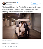 Barack Obama happy birthday Michelle tweet from Tee Tweets