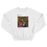 Barack Obama Merry Christmas tweet on a white crewneck sweater from Tee Tweets