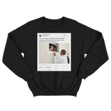 Barack Obama no one is born hating skin color tweet on a black crewneck sweater from Tee Tweets