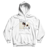 Barack Obama no one is born hating skin color tweet on a white hoodie from Tee Tweets