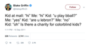Blake Griffin charity for colorblind kids tweet from Tee Tweets