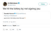 CJ McCollum hit the lottery by not signing Chandler Parsons tweet from Tee Tweets