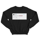 Cardi B dick is the devil tweet on a black crewneck sweater from Tee Tweets