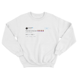 Cardi B dick is the devil tweet on a white crewneck sweater from Tee Tweets