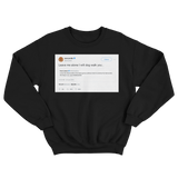 Cardi B Tomi Lahren I will dog walk you tweet on a black crewneck sweater from Tee Tweets