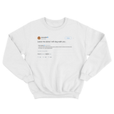 Cardi B Tomi Lahren I will dog walk you tweet on a white crewneck sweater from Tee Tweets