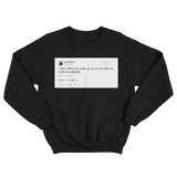 Cardi B wake up Offset to go to McDonalds tweet on a black crewneck sweater from Tee Tweets