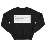 Charli CXC who's the most hungover of them all tweet on a black crewneck sweater from Tee Tweets