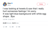 Cher-i-was-looking-at-tweets-and-saw-i-hurt-someones-feelings-im-sorry-it-was-light-blue-background-and-white-egg-bye-tweet-tee-tweets