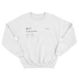 Cher I'm only one woman tweet on a white crewneck sweater from Tee Tweets